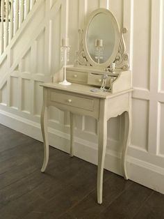 Cream beige dressing table with mirror drawers oval chic vintage distressed....love it!