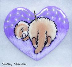 Original Ferret Painting on Handmade Heart Ornament Whimsy - Shelly Mundel #IllustrationArt It's Finished, Heart Ornament, Ferret, Original Artwork, Resin, Illustration Art, Ornaments, The Originals, Handmade