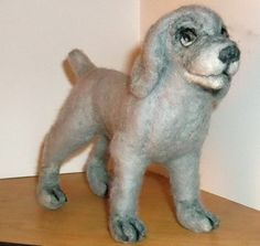 Handcrafted Needle Felted Weimaraner puppy