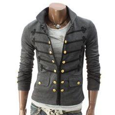 Doublju Mens Button Pointed Zipper Jacket