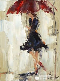 Rainy Day Dress (by Kathy Trotter) [umbrella] Umbrella Painting, Umbrella Art, Art Texture, Painting Inspiration, Lovers Art, Watercolor Art, Art Projects, Abstract Art, Art Gallery