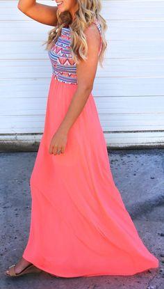 Pink Chevron Print Sleeveless Maxi Dress