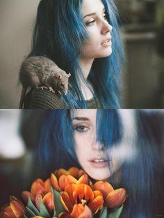 Mermaid Blue Green Dark Hair Inspiration | Little Rat Friend | Summer Orange Flowers | Rock n Roll | Beauty | Hair Dye