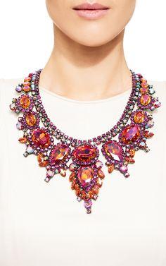 Thorin Contemporary Statement Necklace With Fuchsia, Pink-Orange And Aurora Borealis Rhinestones Set In Japanned Metal by Carole Tanenbaum - Moda Operandi
