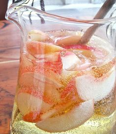 ... peach brandy and white moscato to give this sparkling peach sangria a