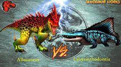 Labyrinthodontia VS Allosaurus - Both Max Levels   Jurassic World The Ga...
