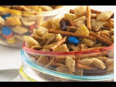 Family Favorite Party Mix - a  sweet & salty treat that's easy to make in your slow-cooker - perfect for tailgating! (Chex Mix Oven)