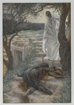 Jesus meets Mary at the empty tomb.  By  James Jacques Joseph Tissot