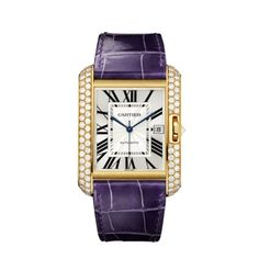 CARTIER TANK ANGLAISE  WATCH , MEDIUM  Automatic,18K yellow gold, diamonds, alligator leather strap with deployment buckle.