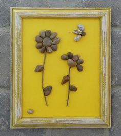 """Pebble Art (Two Fun Flowers with a Cute Flying Insect) set on a chearful yellow background in a reclaimed rustic 8 x 11 """"open"""" Frame) by CrawfordBunch on Etsy Stone Crafts, Rock Crafts, Rock Flowers, Barn Wood Crafts, Rock And Pebbles, Rock Design, Flower Art, Art Flowers, Yellow Background"""