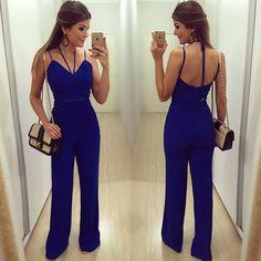 Resultado de imagem para macacao azul klein Clubbing Outfits, Casual Work Outfits, Casual Dresses, Summer Outfits, Cute Outfits, Fashion Room, I Love Fashion, Fashion Outfits, Moda Emo