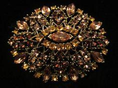 "Amazing Vintage 2-1/2"" Gold Tone Prong Set Amber Rhinestone Statement Brooch A29"