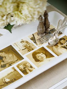 "Family Photo ""Platter"" - use a wooden TRAY instead of china platter, and put the photos under glass. MUCH better for the photos than laminating."