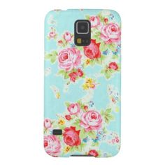 Romantic vintage 80s shabby floral cottage pink rose flowers pattern on a beautiful aqua chic baby blue background Case Mate Barely There Samsung Galaxy s5 case cover.