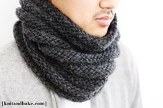 """Their cowl was with a finer, silkier yarn, but I made mine with a chunky, super warm grey wool. This pattern is really easy, knit in the round (no seams!) and can be knit up in a couple of nights. The k4, p4 pattern creates a horizontal ribbing or stripes that make it really easy to """"scrunch"""" down when wearing the cowl."""