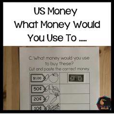 US Money What money would you use to ..... - montessorikiwi Money Activities, Calendar Activities, Counting Activities, Language Activities, Montessori Elementary, Montessori Activities, Elementary Math, Teaching Money, Teaching Kids