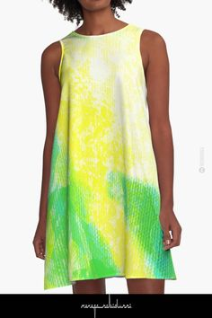 Fresh Breeze by Menega Sabidussi Women Casual Designer Print Clothing Clothing Apparel, Shades Of Yellow, Yellow Dress, Wearable Art, Breeze, Designer Dresses, Chiffon Tops, Print Design, T Shirts For Women