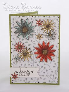 friend card using Stampin Up Grateful Bunch stamp & punch bundle & Wildflower Fields dsp. By Di Barnes for Just Add Ink  295. 2016 Occasions Catalogue & Saleabration  #colourmehappy