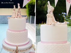 the cake in light pink for this cute rabbit' Maileg themed party