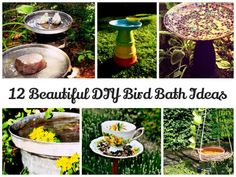 12 Beautiful DIY Bird Bath Ideas www. 12 schöne DIY Vogelbad Ideen www. Backyard Projects, Outdoor Projects, Outdoor Decor, Outdoor Living, Outdoor Stuff, Outdoor Ideas, Diy Bird Feeder, Humming Bird Feeders, Homemade Bird Houses