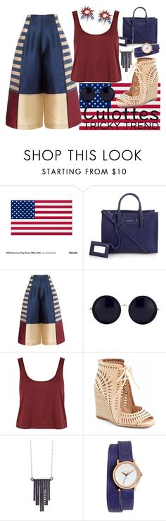 """""""Tricky Trend - Culottes - 4th of July Style"""" by faleur102 ❤ liked on Polyvore featuring WALL, Balenciaga, The Row, River Island, Jeffrey Campbell, Ariko, Nixon, TrickyTrend and culottes"""