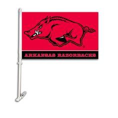 NCAA Arkansas Razorbacks Car Flag W/Wall Brackett