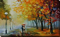 Fall Drizzle by Leonid Afremov Painting Print on Wrapped Canvas