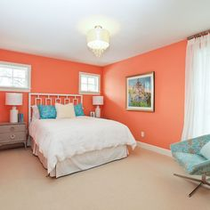 Bedroom peach wall color Design Ideas, Pictures, Remodel and Decor