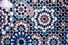 Image MOR 0416 featuring fountain, in Fez, Morocco, showing Geometric Pattern using ceramic tiles, mosaic or pottery.