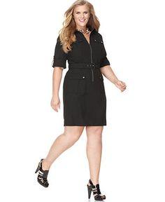 MICHAEL Michael Kors Plus Size Dress, Short Sleeve Zip Front Shirtdress - Plus Size Dresses - Plus Sizes - Macy's