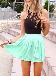 Pretty mint colored summer skirt..