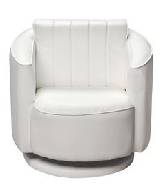 Another great find on #zulily! White Upholstered Swivel Chair by Gift Mark #zulilyfinds