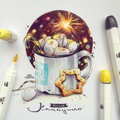 Art Sketches Ideas - А я участвую в конкурсе от Lisa Phillips-Barton. Copic Marker Art, Copic Art, Sketch Markers, Cool Art Drawings, Art Sketches, Food Drawing, Painting & Drawing, Chibi Kawaii, Watercolor Christmas Cards