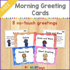FREE Morning Meeting Cards including No Touch Greetings