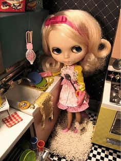 """This is a photo I, (Suzan Horvath) took for Motif Magazine """"Nostalgia"""" issue a few years ago of a vintage 1972 Kenner Blythe doll, (so much fun!) I loved creating dioramas and designing/styling in miniature. A much missed hobby...."""