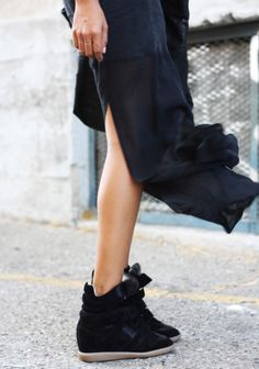 maxi with sneaker wedges in black.