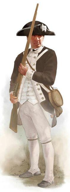 American Revolutionary War Soldier American Revolutionary War, American War, American Soldiers, Early American, American History, Military Art, Military History, Military Uniforms, Marina Real