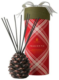 Thymes Frasier Fir Pinecone Reed Diffuser. Tartan style illo