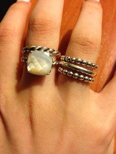 Mother of pearl Pandora ring set