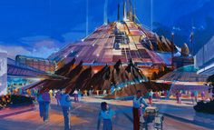 In this concept for Paris' Space Mountain, the building sits in a crater