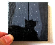 Cat Painting Cat Silhouette Artwork Gift Idea by EnchantedChroma Small Canvas Paintings, Easy Canvas Art, Small Canvas Art, Mini Canvas Art, Small Paintings, Original Paintings, 3 Canvas Painting Ideas, Art Painting Gallery, Painting & Drawing