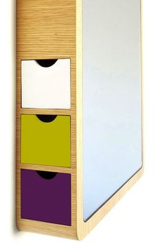 storage mirror colored drawers