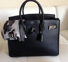 Hermes bag & Chanel scarf ⓟinterest:@AudHolmes