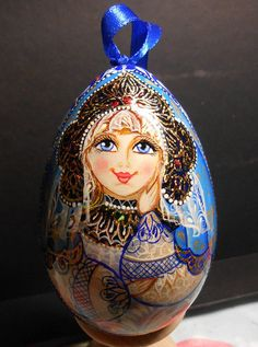 Easter Egg with russia dolls  Snow Maiden by Artworkshop1 on Etsy, $15.00