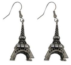Silver and Crystal Eiffel Tower Earrings