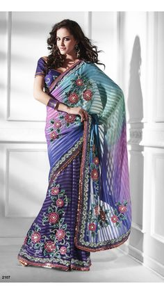 Khazanakart Heavy Worked Saree Satin Saree in Black and Off White Color