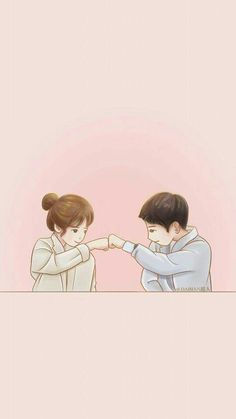 39 best cute couple wallpaper images in 2019 Love Cartoon Couple, Cute Love Cartoons, Anime Love Couple, Cute Anime Couples, Cute Couple Drawings, Cute Couple Art, Cute Drawings, Songsong Couple, Cartoon Kunst
