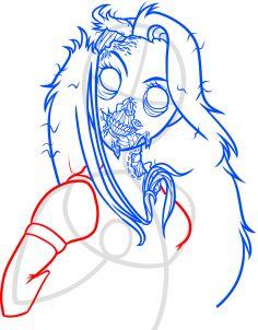 how to draw zombie rapunzel step 9