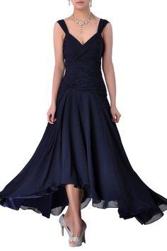 e8217df8a1fe Natrual Straps Chiffon Tea Length A Line Evening Dresses, Color Navy Blue  ,18W Adorona