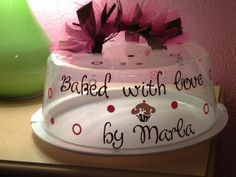 Another decorated cake carrier with vinyl ribbons and tulle. This idea came from Etsy.